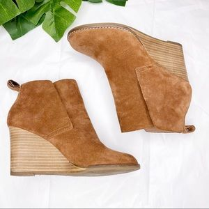 Lucky Brand suede leather wedge ankle boots